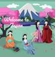 four japanese girls in national costumes image vector image vector image