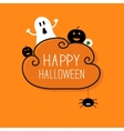 Ghost pumpkin eyeball hanging spider Happy vector image vector image