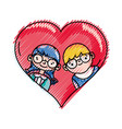 grated boy and girl with glasses inside heart vector image vector image