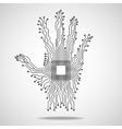 Hand Cpu Circuit board vector image