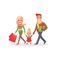 happy family mother father small daughter shopping vector image vector image