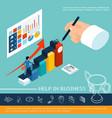 isometric business help concept vector image