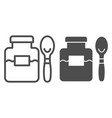 jam jar and spoon line and glyph icon fruit jam vector image vector image