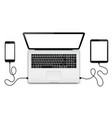 laptop with connected devices vector image vector image