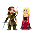 Medieval Couple Knight and Princess vector image
