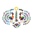 mexican otomi style bright pattern with peacocks vector image vector image