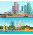 miami waterfront cartoon banners set vector image vector image