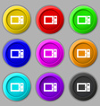 microwave icon sign symbol on nine round colourful vector image vector image