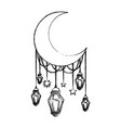 moon crescent with lamps hanging vector image