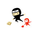 ninja boy jump and send a product box art vector image