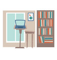 office or home workplace with laptop and books vector image