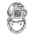 old underwater diving helmet hand drawn vector image
