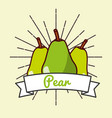 pear fruit organic vitamins emblem vector image