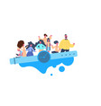 people team on watch seesaw balancing time concept vector image