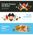 Pirate concept flat banners set vector image