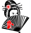 portrait japanese girl with fan vector image vector image