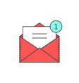 red outline email notification icon vector image