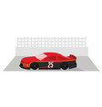 red racing car is ready to race on race track vector image vector image