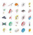 road symbols isometric icons pack vector image