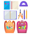 school bag with chancellery office sign vector image vector image