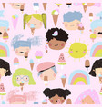 seamless pattern cute kid faces with ice cream vector image vector image