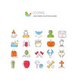 set flat line icons halloween vector image vector image