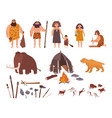 set of stone age theme primitive people children vector image vector image