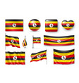 set uganda flags banners banners symbols vector image vector image