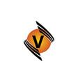 technology letter v vector image