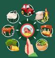 two farm cartoon banner set vector image vector image