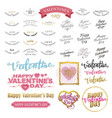 valentines day lettering design set vector image vector image