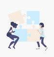 womans teamwork concept with jigsaw pieces vector image