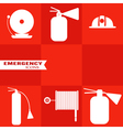 Set of fire icons on red background vector image
