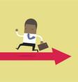 african businessman running opposite arrow way vector image vector image