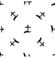 airplane and palm pattern seamless black