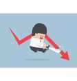 Businessman cut the falling graph Stock market F vector image