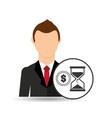 cartoon business man sand clock money design vector image vector image