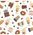 cartoon coffee types pattern or background vector image
