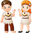 cartoon couple native indian american with traditi vector image