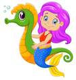Cartoon happy mermaid swimming with seahorse vector image