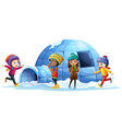 children playing around igloo vector image vector image