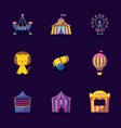 cute lion with set icons circus vector image
