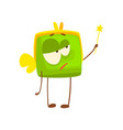 cute purse character with wings and magic wand vector image vector image