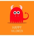 Cute red evil monster with horns and fangs Happy vector image