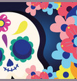 day dead catrina skull with flowers vector image vector image