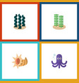 flat icon sea set of alga tentacle seashell and vector image vector image