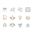 Flat linear Christmas decoration icons vector image vector image