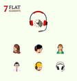 flat telemarketing set of operator service call vector image