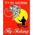 Fly fisherman catching largemouth bass with fly vector image vector image