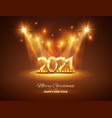 greetings card warm color 2021 numbers shine and vector image